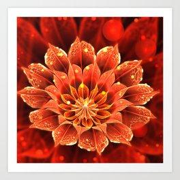 Red Dahlia Fractal Flower with Beautiful Bokeh (Vivid Crimson) Art Print