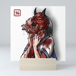 Get Out - Oni Masked School Girl Mini Art Print