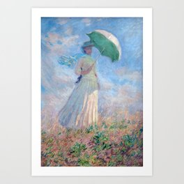 Claude Monet 1886 - Woman with a Parasol/Umbrella facing right Art Print