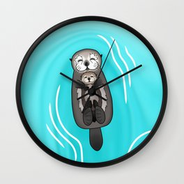 Mother and Pup Sea Otters - Mom Holding Baby Otter Wall Clock