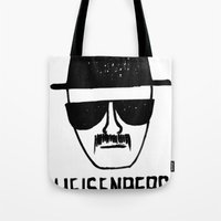 breaking Tote Bags featuring Heisenberg - Breaking Bad Sketch by Bright Enough💡