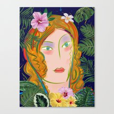 Pop Girl Portrait with Flowers and Leaves Decoration Canvas Print