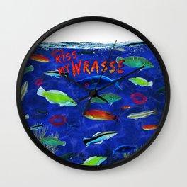 Kiss My Wrasse Fish Humor Design Wall Clock