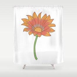Doodle Gazania Flower Illustration Shower Curtain