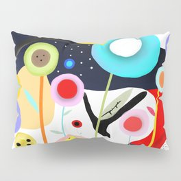 Night Meadow Black Branches Happy Circles Pillow Sham