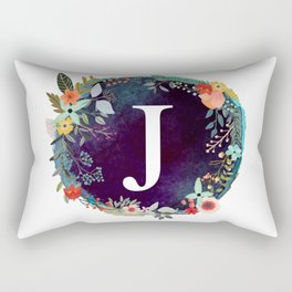 Personalized Monogram Initial Letter J Floral Wreath Artwork Rectangular Pillow
