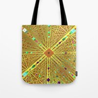 labyrinth Tote Bags featuring Labyrinth by Fractalinear