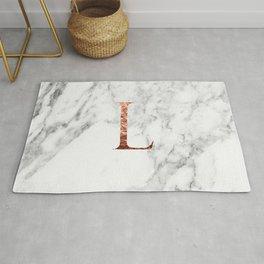Monogram rose gold marble L Rug