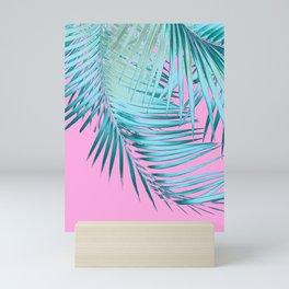 Palm Leaves Pink Blue Vibes #1 #tropical #decor #art #society6 Mini Art Print
