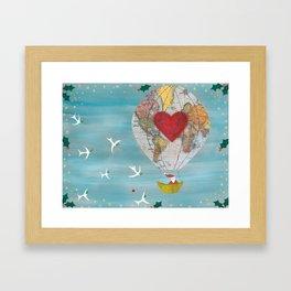 Christmas Santa Claus in a Hot Air Balloon for Peace Framed Art Print