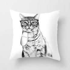 Mac Cat Throw Pillow