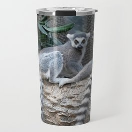 Lemurs on a log Travel Mug