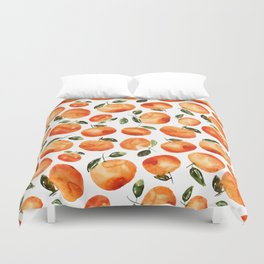 Watercolor tangerines Duvet Cover