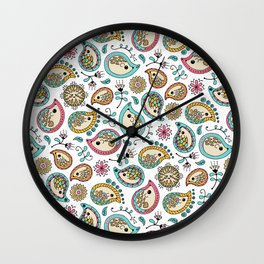 Hedgehog Paisley_Colors and White Wall Clock