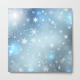 Snowflakes Christmas night Metal Print