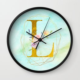 Gold Foil Alphabet Letter L Initials Monogram Frame with a Gold Geometric Wreath Wall Clock