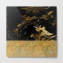 Luxury and glamorous gold glitter and black marble Metal Print