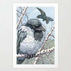 Pensive Crow Art Print
