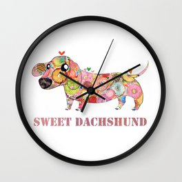Sweet Dachshund, Watercolor Donut Pattern Illustration Wall Clock