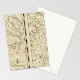 Vintage Map Print - 1746 map - New Map of the Mediterranean Sea by Francois Olivier Stationery Cards