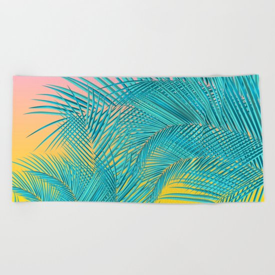 Summer Palm Leaves Beach Towel