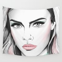 cara Wall Tapestries featuring Cara D. by Sol Fortuny