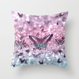 Pastel Unicorn Butterfly Glitter Dream #2 #shiny #decor #art #society6 Throw Pillow