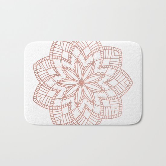 Mandala Posy Flower Rose Gold on White Bath Mat