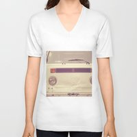 volkswagon V-neck T-shirts featuring WV Combi Bus Volkswagon Vintage Car (Retro Cream an Violet Van)  by Caroline Mint