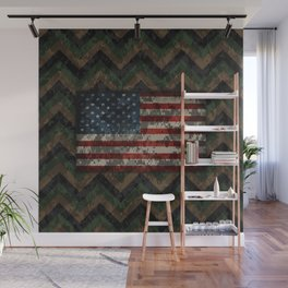 Green and Brown Military Digital Camo Pattern with American Flag Wall Mural