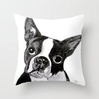 boston terrier Throw Pillows featuring Boston Terrier by Gooberella