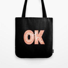 Oh Ok - Rose on Black Tote Bag