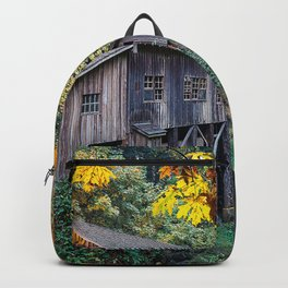 Watermill USA Washington Cedar Creek Grist Mill, Woodland Autumn Nature water mill Backpack