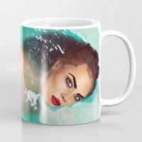 cara delevingne Mugs featuring Cara Delevingne by Jessica Guetta