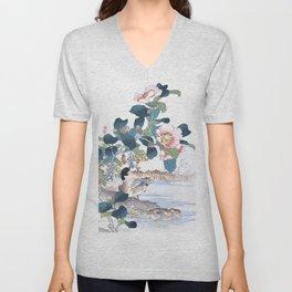 Couple Of Ducks And Camellia Flowers - Antique Japanese Woodblock Print Art By Kono Bairei Unisex V-Neck