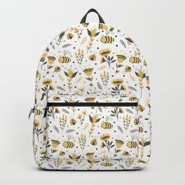 Bees and ladybugs. Gold and black Backpack