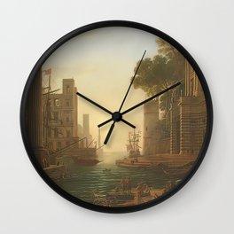 Claudio de Lorena the embarkation of saint paula romana Wall Clock