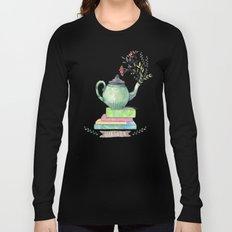 Books & Tea Watercolor Long Sleeve T-shirt