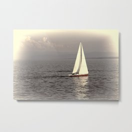 Sailing boat on the lake Metal Print