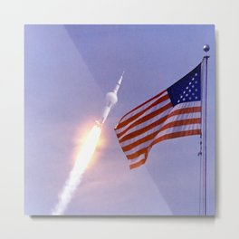 Nasa Picture 3: Apollo 11 Launcher and the flag of the USA Metal Print
