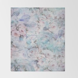 Shabby vintage pastel pink teal floral butterfly typography Throw Blanket