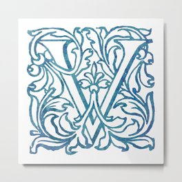Letter V Elegant Vintage Floral Letterpress Monogram Metal Print