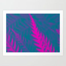 Nature Pattern # 2 - Fern (Blue Pink) Art Print