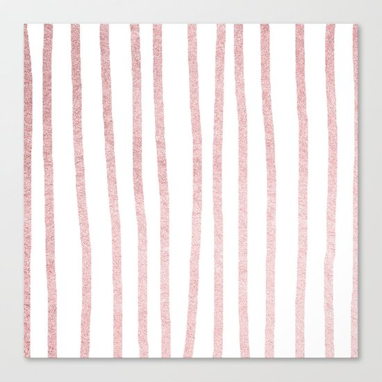 Simply Drawn Vertical Stripes in Rose Gold Sunset Canvas Print