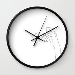 Hands line drawing illustration - Greta Wall Clock