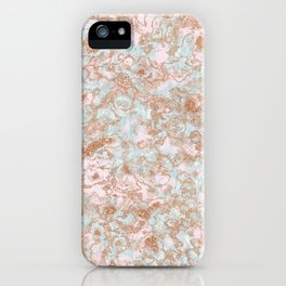 Mint Blush & Rose Gold Metallic Marble Texture iPhone Case