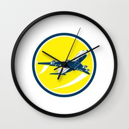 Commercial Jet Plane Airline Circle Retro Wall Clock