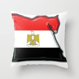 Egypt Map with Egyptian Flag Throw Pillow