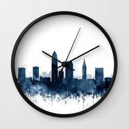 Cleveland Skyline Blue Watercolor by ZouzounioArt Wall Clock