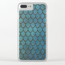 Turquoise Gold Mermaid Scales Clear iPhone Case